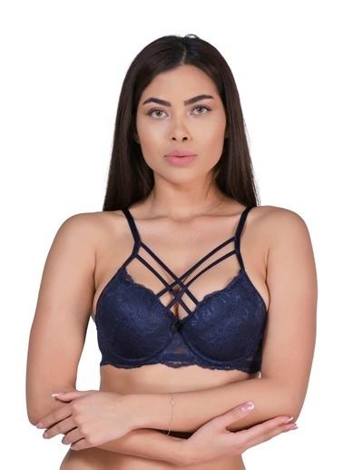 Elif İç Giyim Kadın Çapraz ıpli Sabit Askılı Dantelli B Cup Dolgusuz Desteksiz Sütyen Lacivert